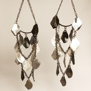 Slate Feather Super Dangle Statement Earrings